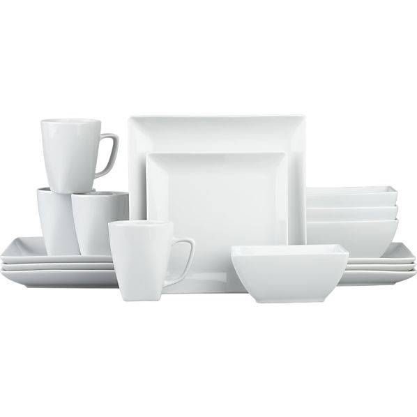 Court Dinner Plates Set of Eight. Square Dinnerware SetModern Dinnerware SetsWhite ...  sc 1 st  Pinterest & Court 16-Piece Dinnerware Set in Dinnerware Sets | Crate and Barrel ...
