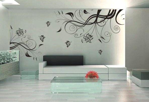 plants wall decal- vinyl wall sticker art deco floral butterfly