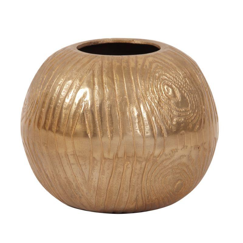 Howard Elliott Medium Textured Gold Round Vase 8 Tall Aluminum