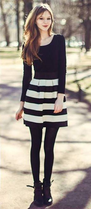 Cute Black And White Striped Skirt Outfit Wardrobe Fashion
