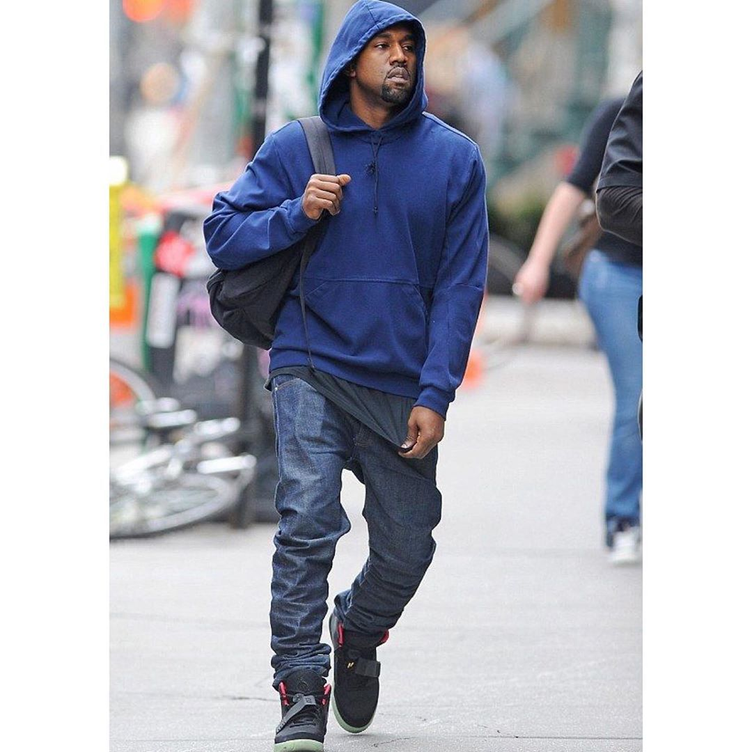 Kanye West On Instagram May 17 2013 Kanye West Was Spotted Wearing Kanye West X A P C Hoodie Kanye West X A P C Kanye West Style Kanye Fashion Kanye West