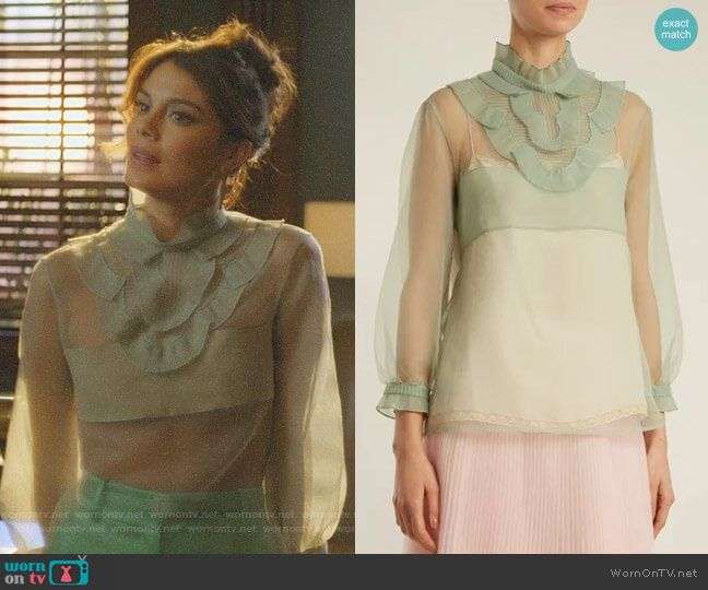 Cristal s green ruffled sheer top and satin pants on Dynasty bb03e9cbc