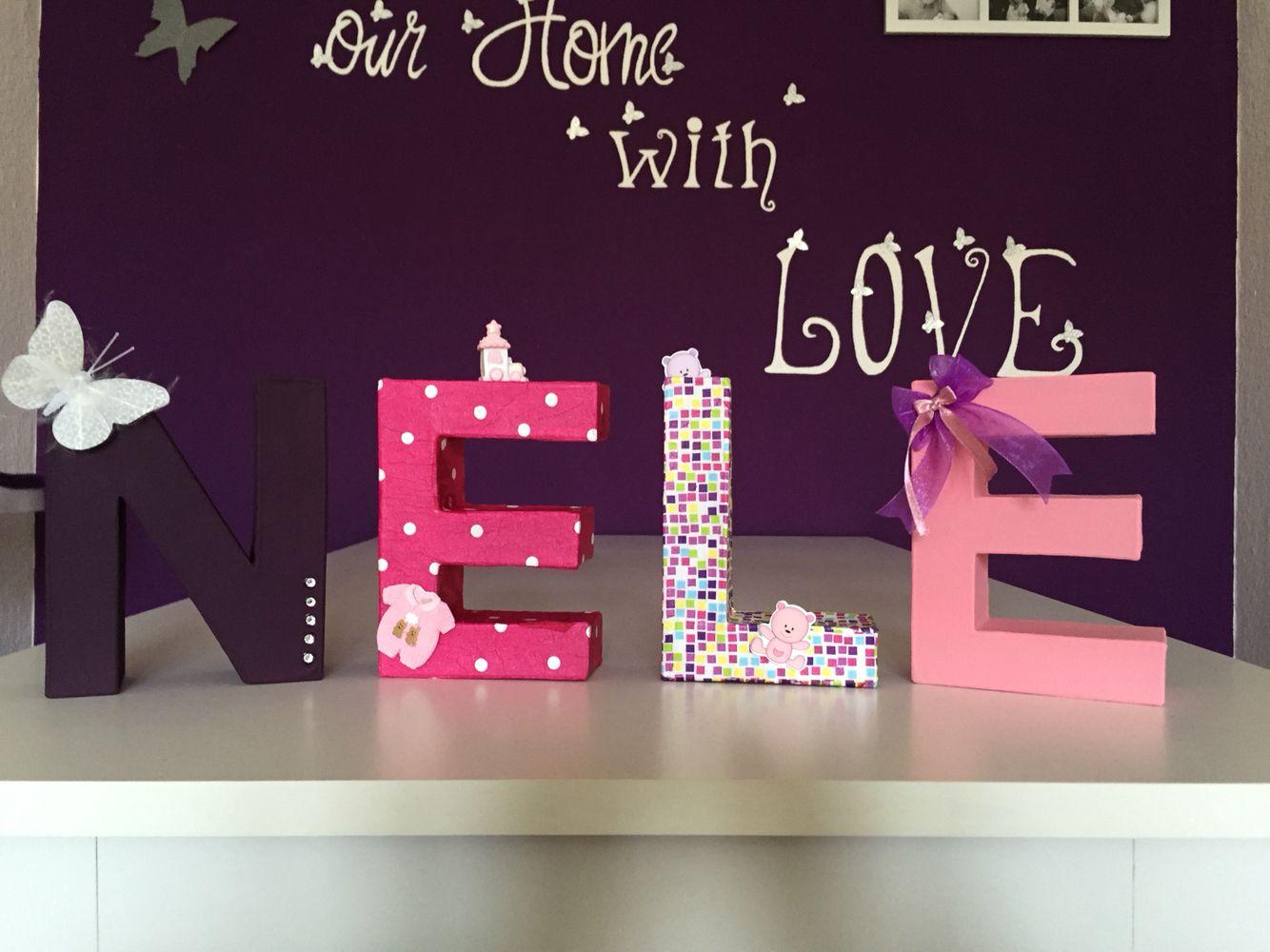 Buchstaben aus Pappe, mit Serviettentechnik und Acrylfarbe ...