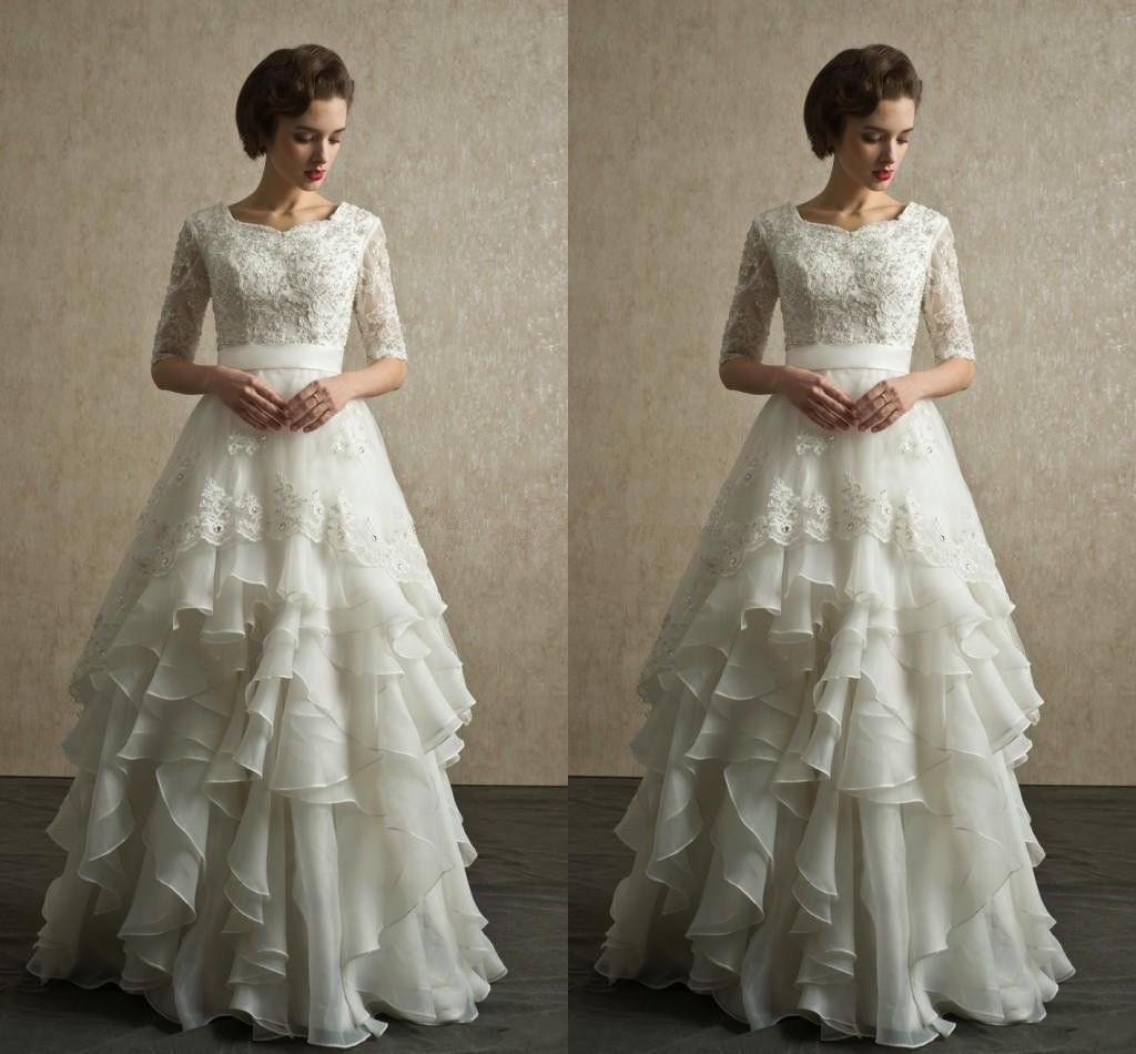 Vintage organza lace half sleeves wedding dress a line layers ruffle