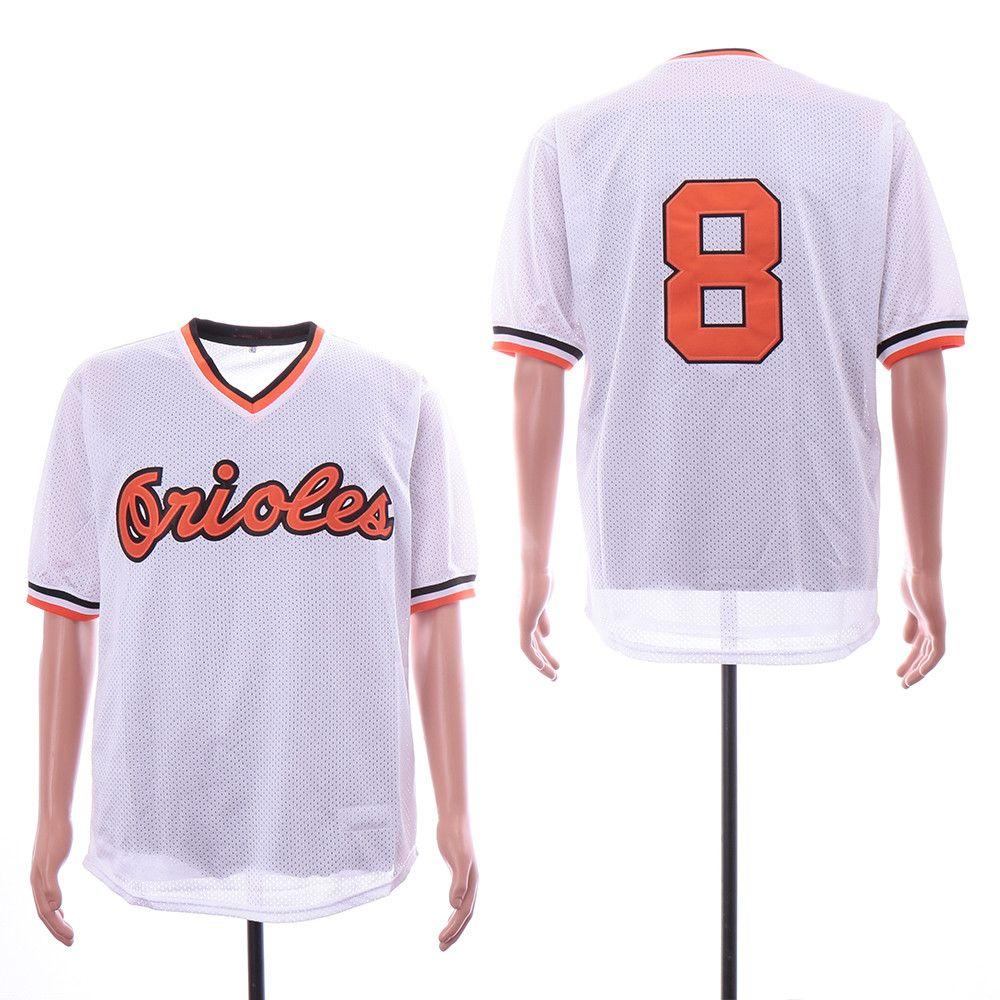 c57484cb9 Men s Baltimore Orioles  8 Cal Ripken Jr. White Mesh Batting Practice 1985 Throwback  Jersey By Mitchell   Ness