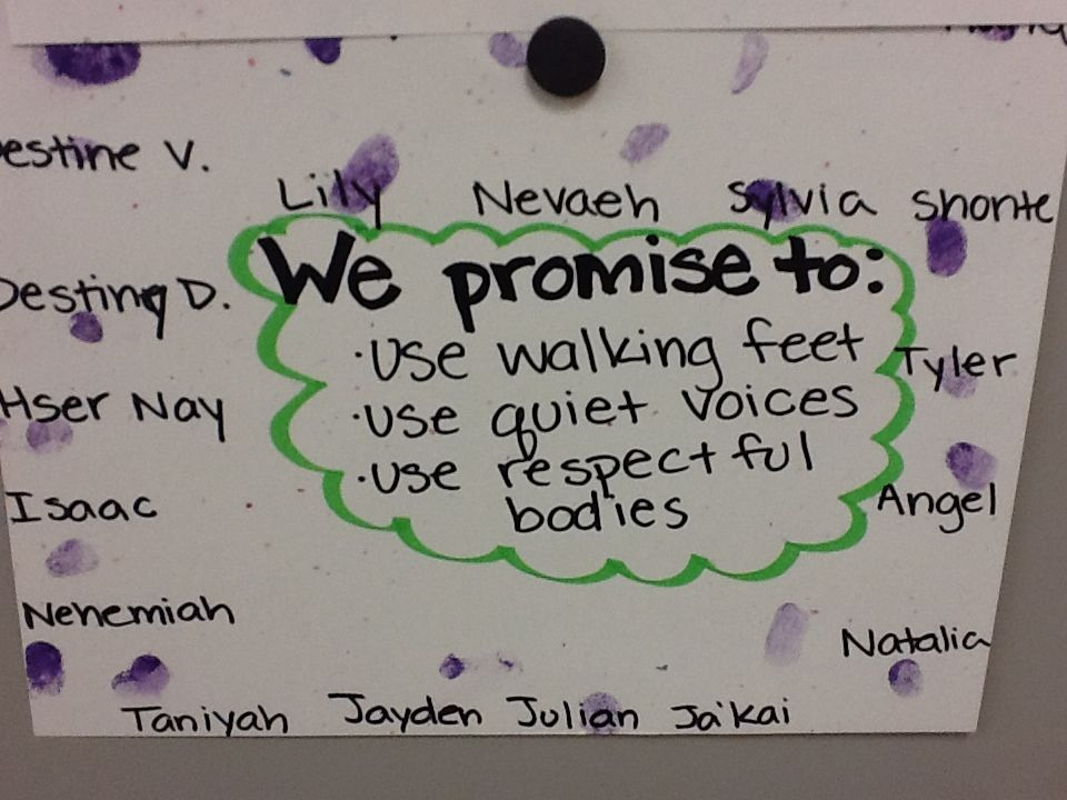 Classroom promises Each student stamped her thumb to show her