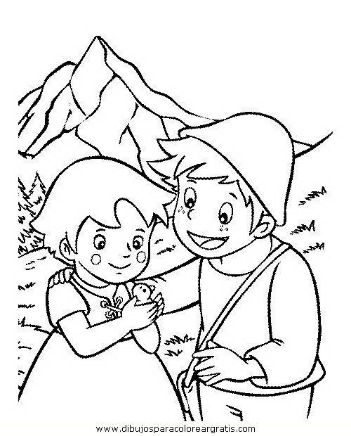 Maestra De Infantil Heidi Y Pedro Dibujos Para Colorear
