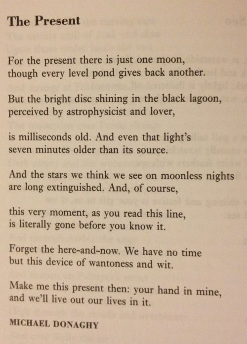Lunch poems, October 12 Michael Donaghy - The Present