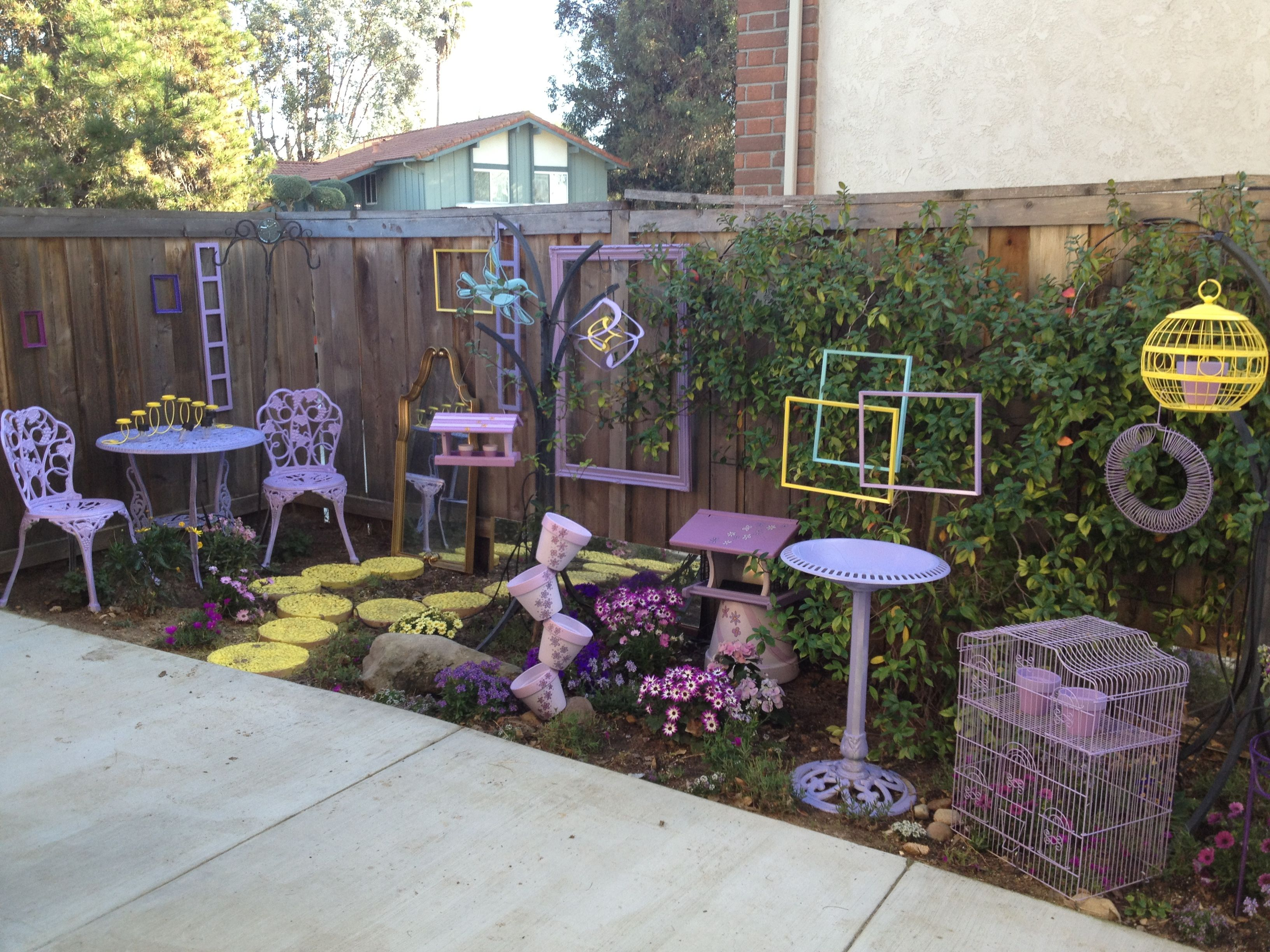 my purple yellow accent garden fun reuse of old items including