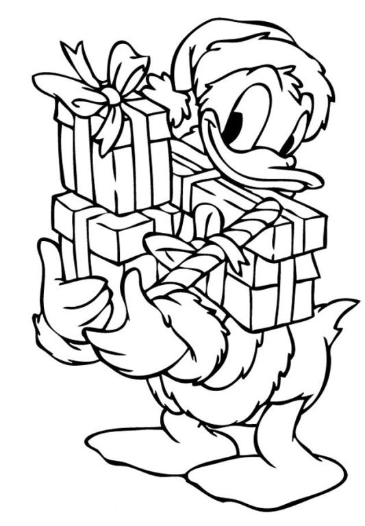 Donald With Christmas Presents Coloring Page - Disney Coloring ...