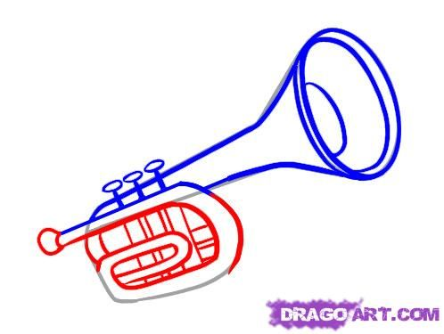 How To Draw A Trumpet Step By Step Wind Musical Instruments Free Online Drawing Tutorial Added By Dawn April 1 2010 11 Trumpet Drawings Guided Drawing