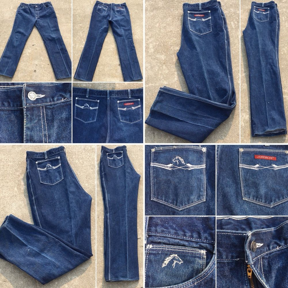 """aebef79c Vintage Jordache Jeans Made In USA Sz 42 Measures 40"""" 70s 80s White  Stitching 