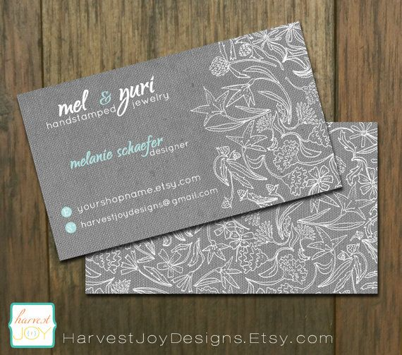 slate garden premade business card design can be customized gray white robin egg blue - Garden Design Business Cards