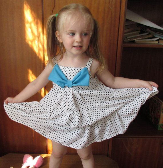White toddler dress with blue bow baby by naturalbabydresses
