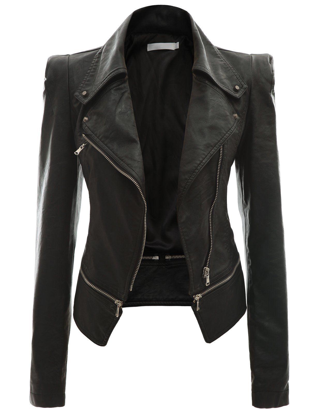 cf94881a936 Doublju Women s Faux Leather Power Shoulder Jacket at Amazon Women s Coats  Shop