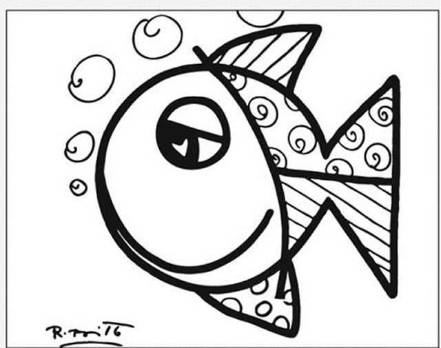 Obras de Romero Britto para colorir Anti stress Adult coloring