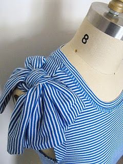 from long-sleeves to bow-sleeves #diy t-shirt -- Oh this is too cute.