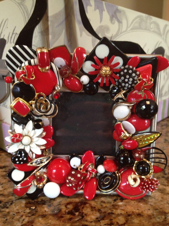 Vintage Jewelry Embellished Frame by ATELIERPRINCIPESSA on Etsy, $25.00
