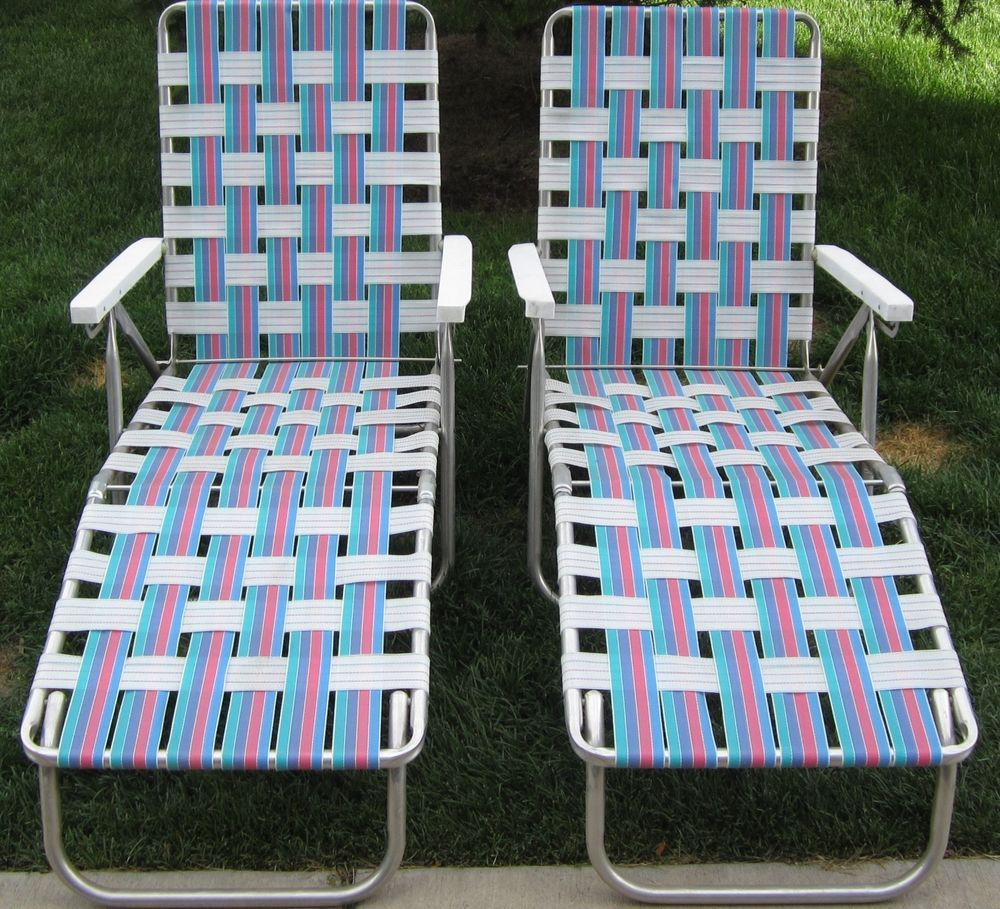 Vintage Aluminum Chaise Folding Webbed Lounge Lawn Chairs 5 Positions
