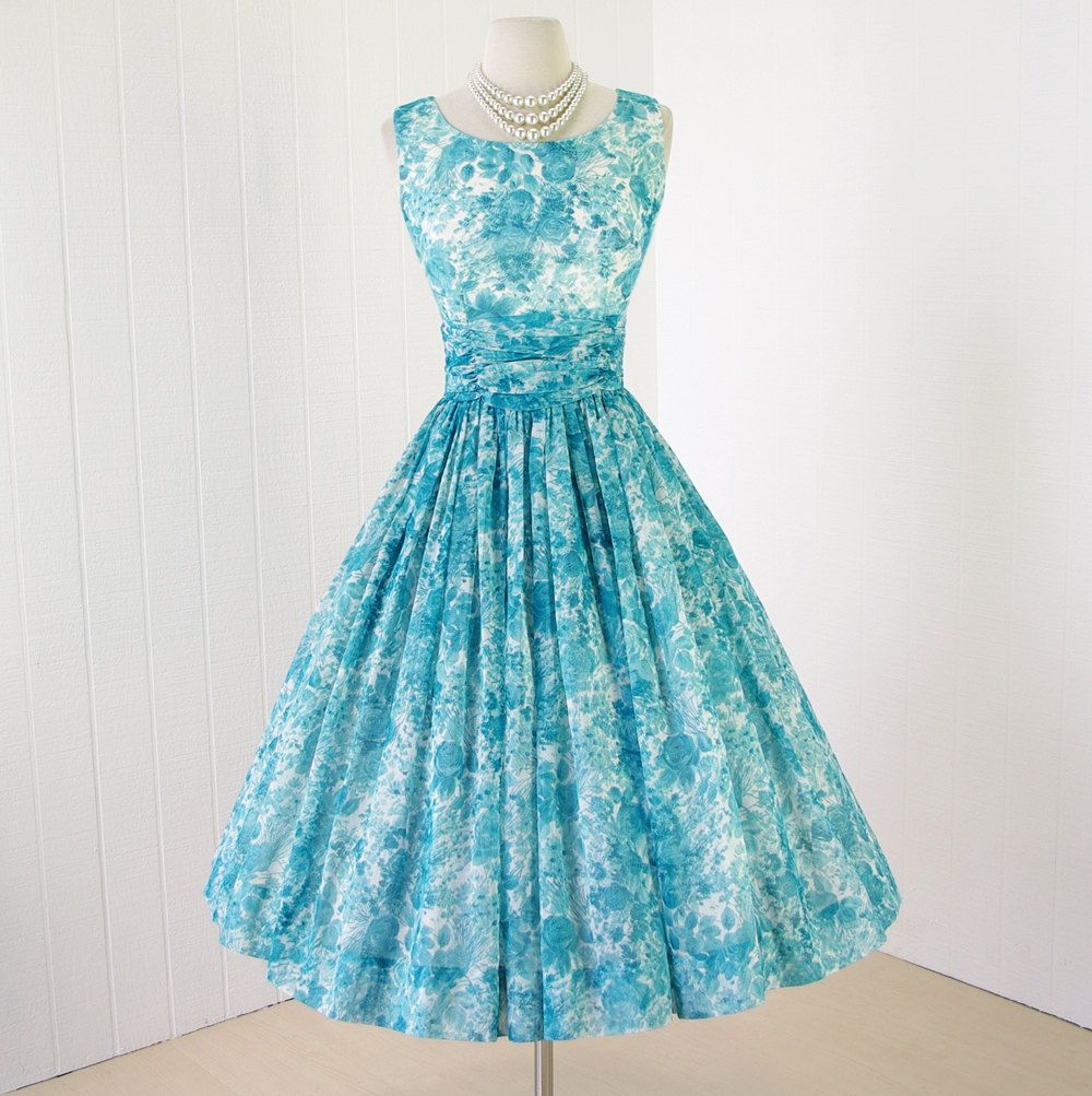 1950s tiffany blue floral chiffon dress -classic silhouette with a ...