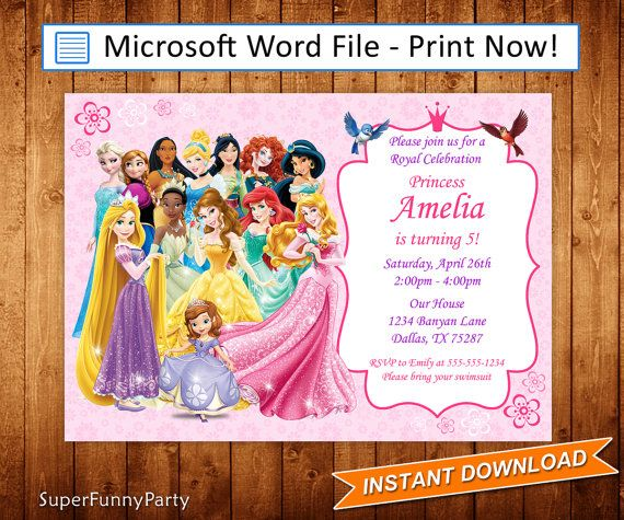 Disney Princess Invitation Birthday Invite