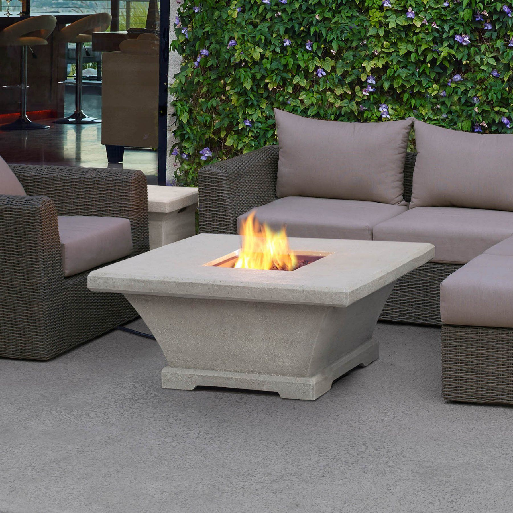 Real flame monaco low height square lp gas fire table with optional