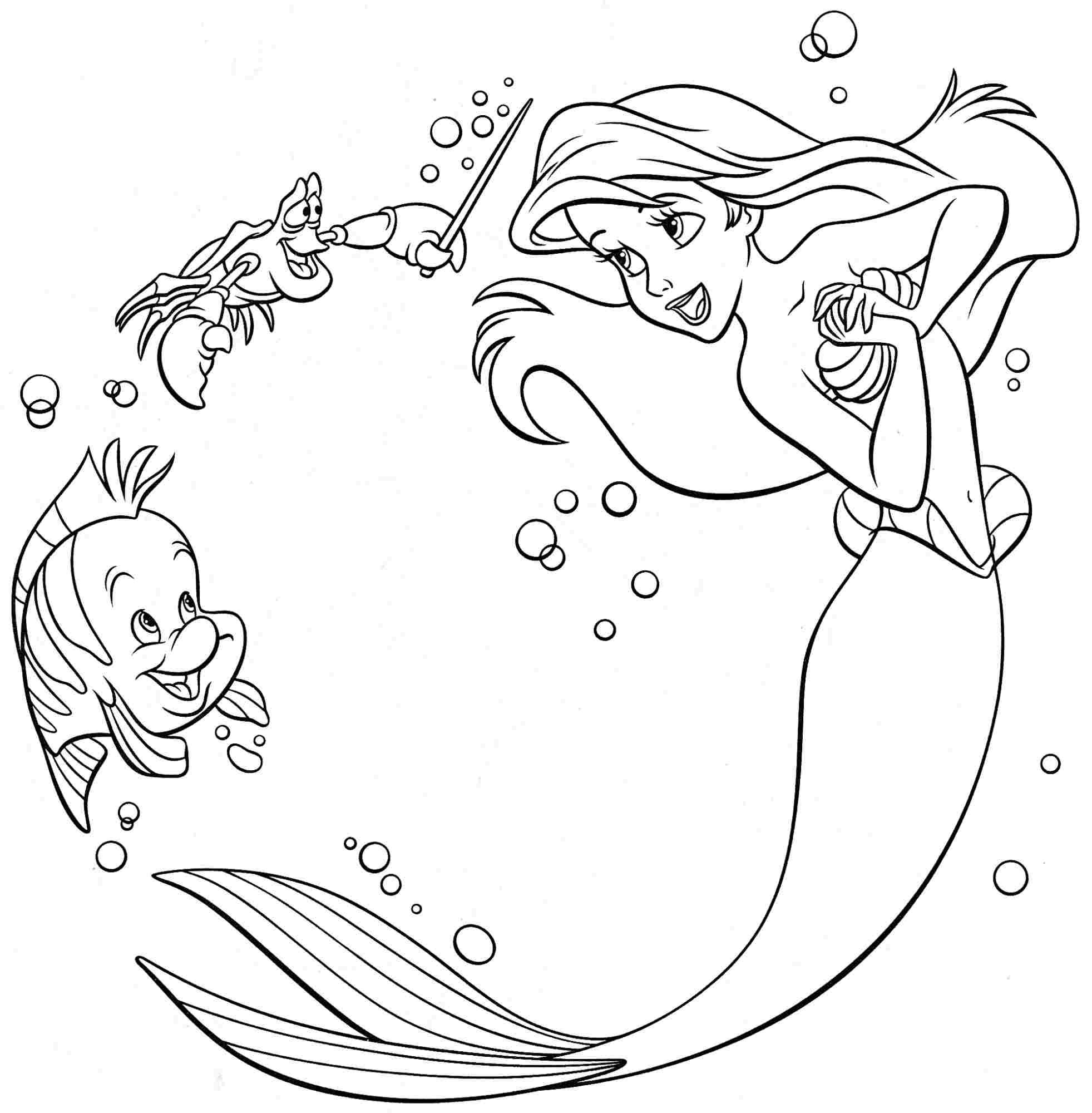 Astounding Ariel Little Mermaid Coloring Pages Free Coloring
