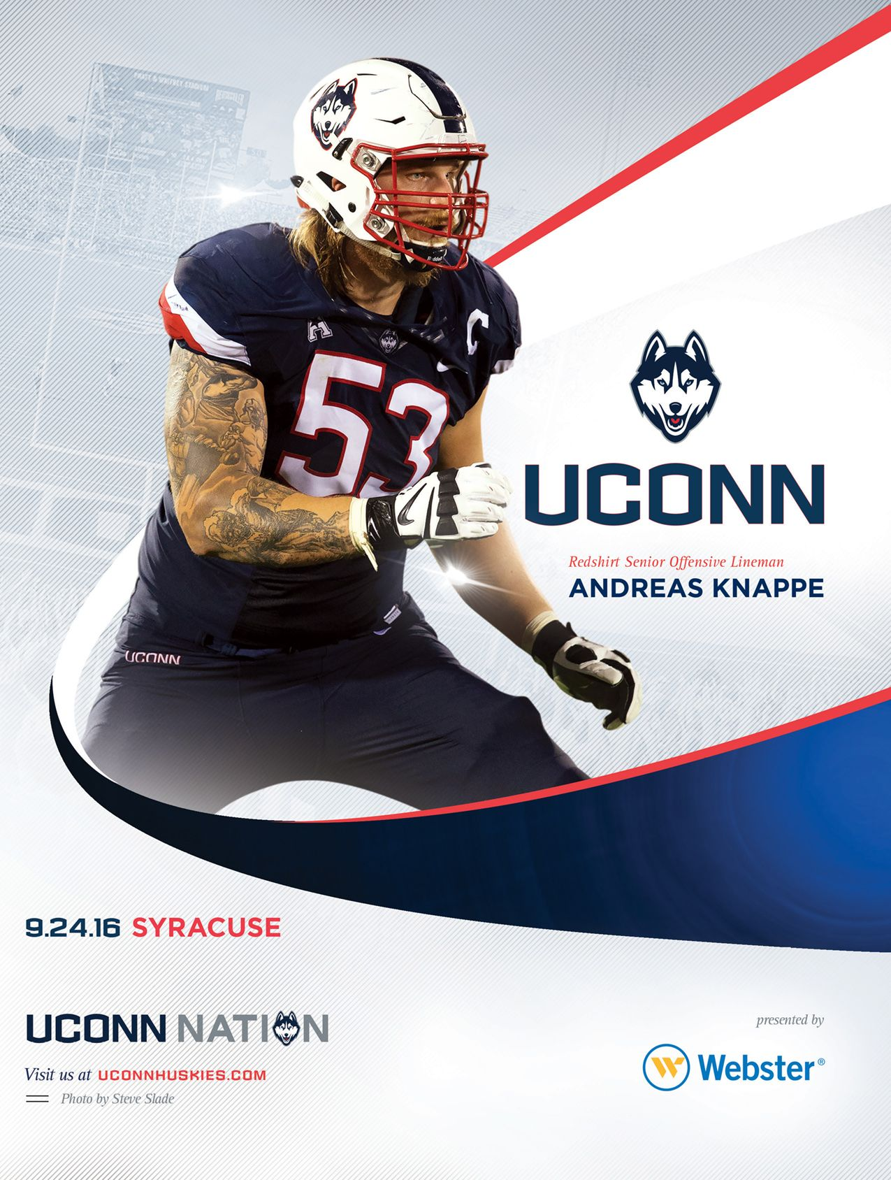 The 2016 Uconnhuskies Football Roster Card Vs Syracuse Features Andreas Knappe On Its Cover Uconnnation Uconn Football Roster Uconn Huskies
