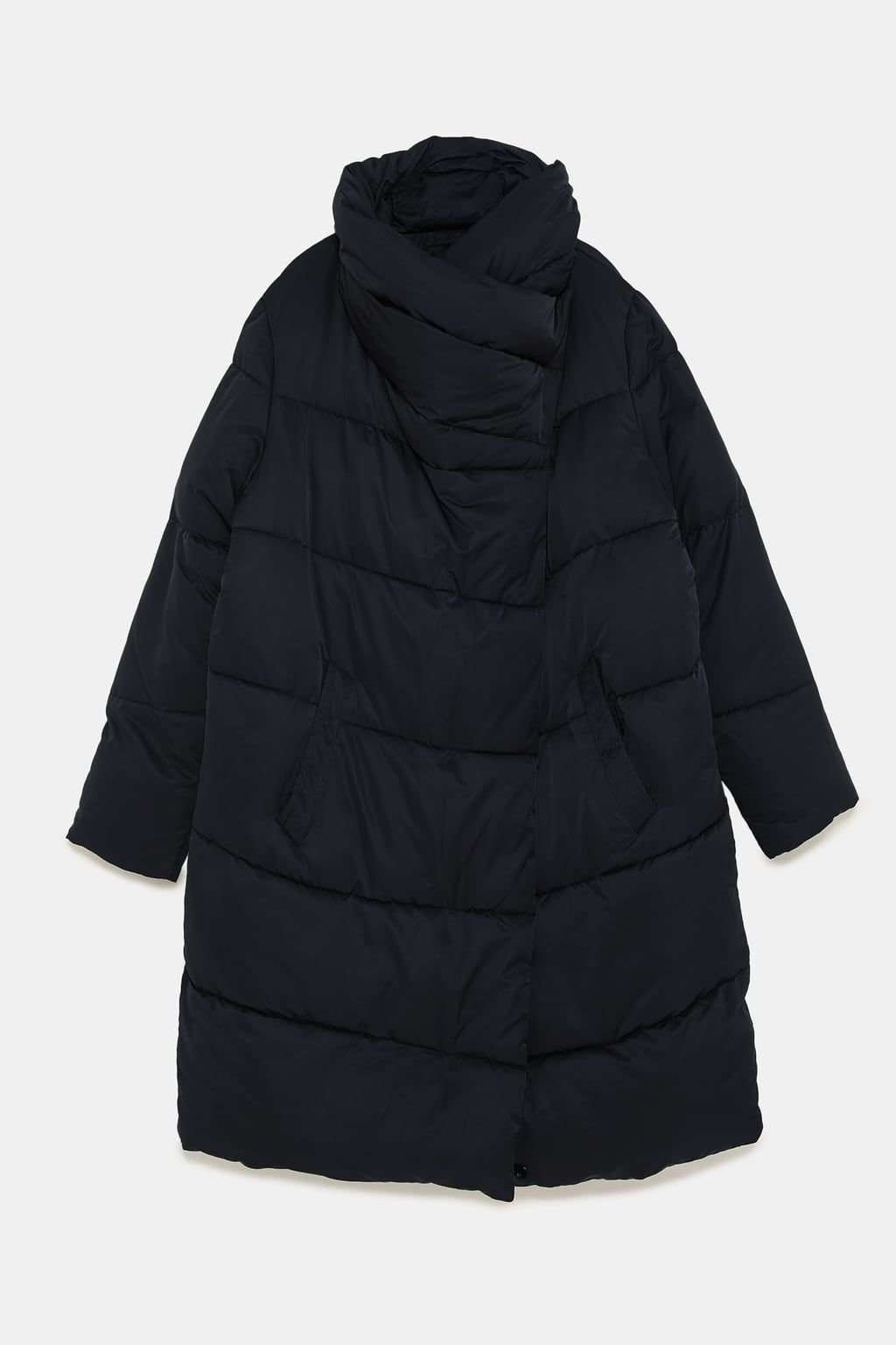 Puffer Coat With Wraparound Collar Details8 990 Rsdblack 3046 222 Puffer Coat Puffer Jackets Fashion Friday