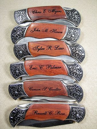Set Of 6 Personalized Engraved Rosewood Handle Pocket Hunting Knife Knives Groomsman Best Man Ring Bearer Gift 138 00 Via Etsy