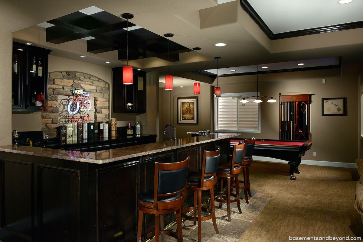 Basement bar from kitchen cabinets home bar design bar pinterest basements beam - Basemant with bar ...