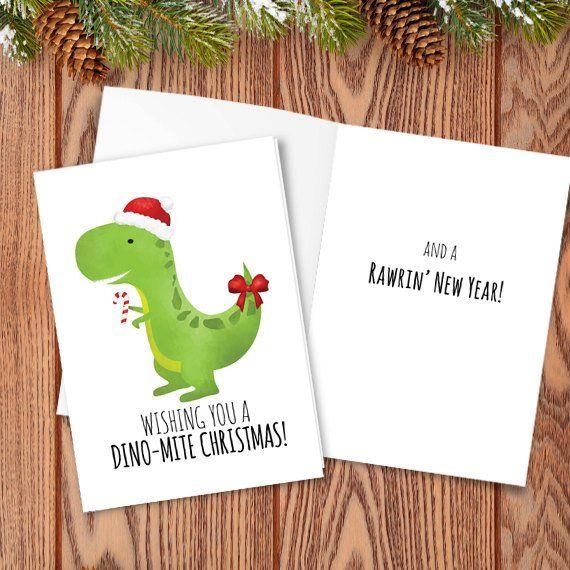 Merry Christmas Puns.Wishing You A Dino Mite Christmas Digital 5x7 Printable