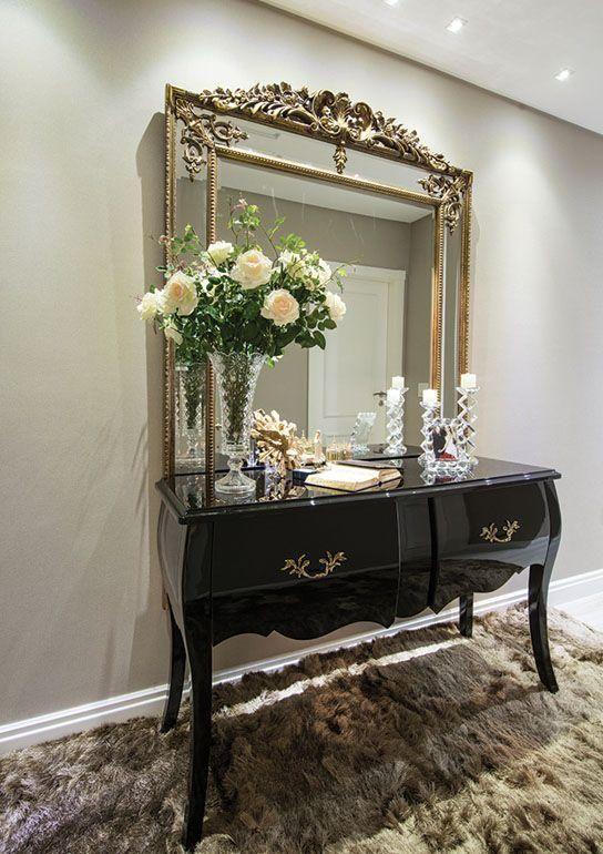 Aparador com estilo retr com espelho com moldura dourada - Fotos de recibidores modernos ...
