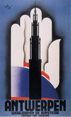 1934 Antwerpen Wereldhaven En Kunststad Stad Antwerpen Lucien De Roeck Art Deco Posters Poster Design Travel Posters