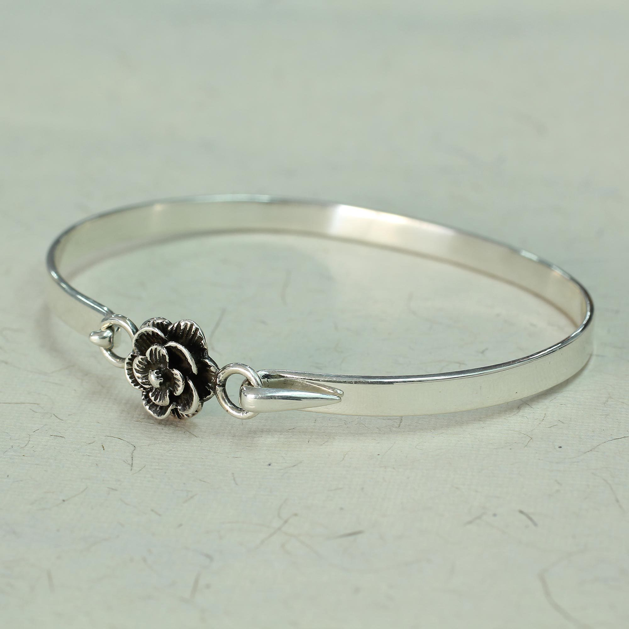 sterling perfect occasion small inside features design bangle for bracelets featuring handcrafted bangles an any pin open a bracelet gold filled this silver heart