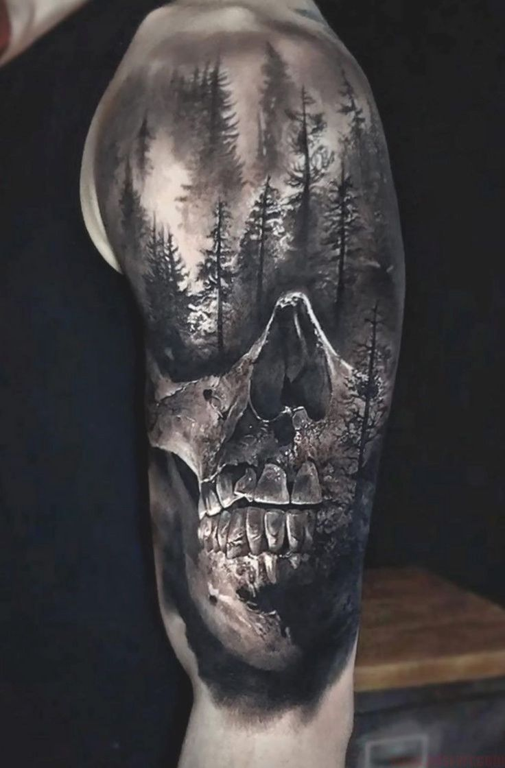Realistic Skull And Forest Done On Guys Shoulder Upper Arm Tattoo By Eliot K Skull Sleeve Tattoos Arm Tattoos For Guys Upper Arm Tattoos