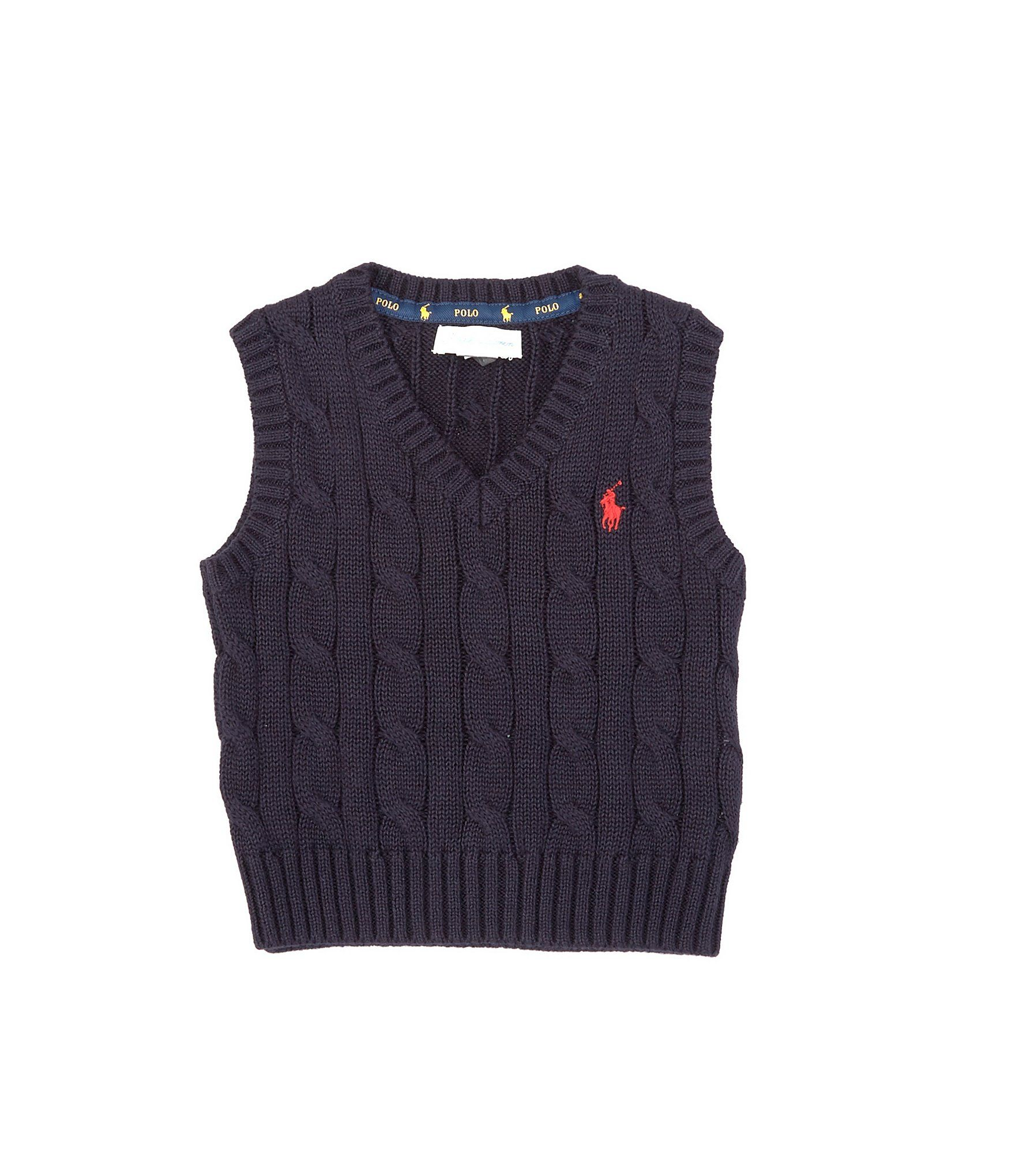 Photo of Ralph Lauren Childrenswear Baby Boys 3-24 Months Cable-Knit Sweater Vest – RL Navy 12 Months