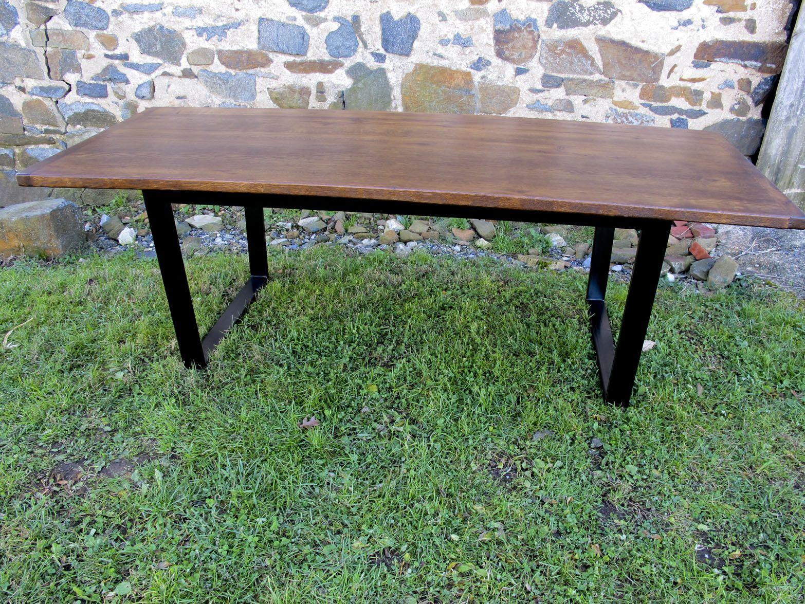 Barn Wood Table Top Metal Base