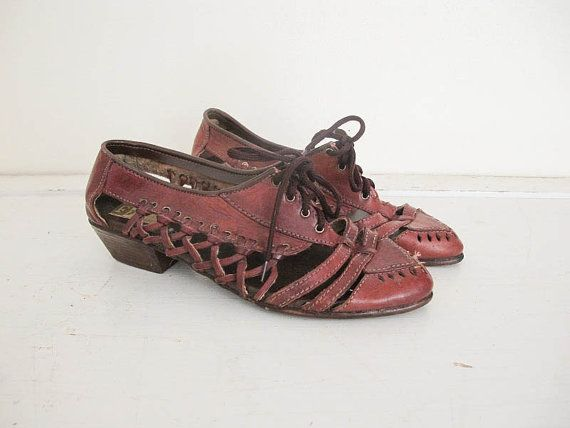 Vintage Woven Leather Flats by HeyLittleLamb on Etsy, $46.00