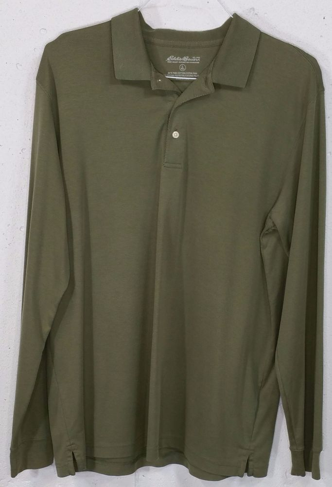 Eddie Bauer Mens Green Pima Cotton Cocona Poly Long Sleeve Polo Shirt LT Tall…
