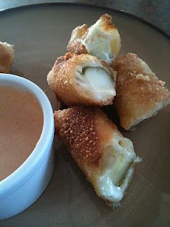 Toasted Frog's Cheesy Fried Pickles: (one of the best apps ever!) egg roll wrappers, havarti cheese slices, dill pickle spears