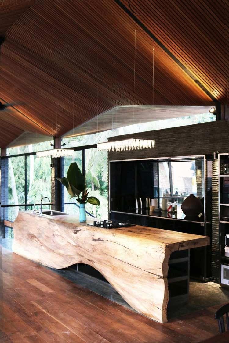 Terrasse bois exotique, revêtement en teck et parement pierre de ...