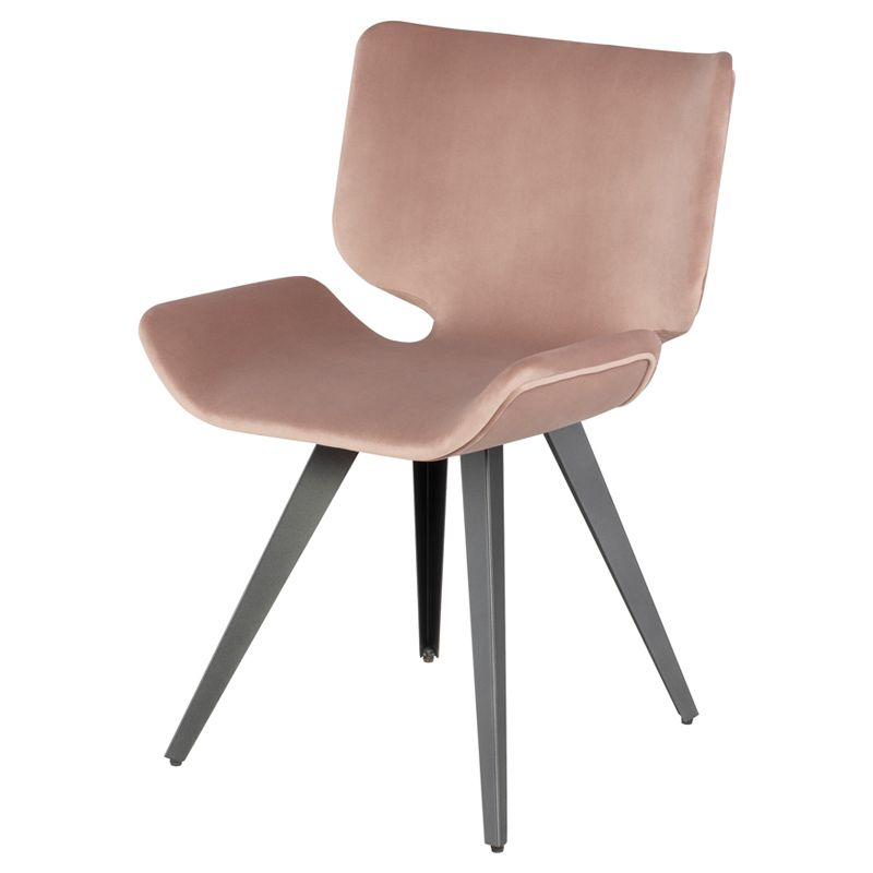 Astra Dining Chair In Blush Fabric On Titanium Steel By Nuevo