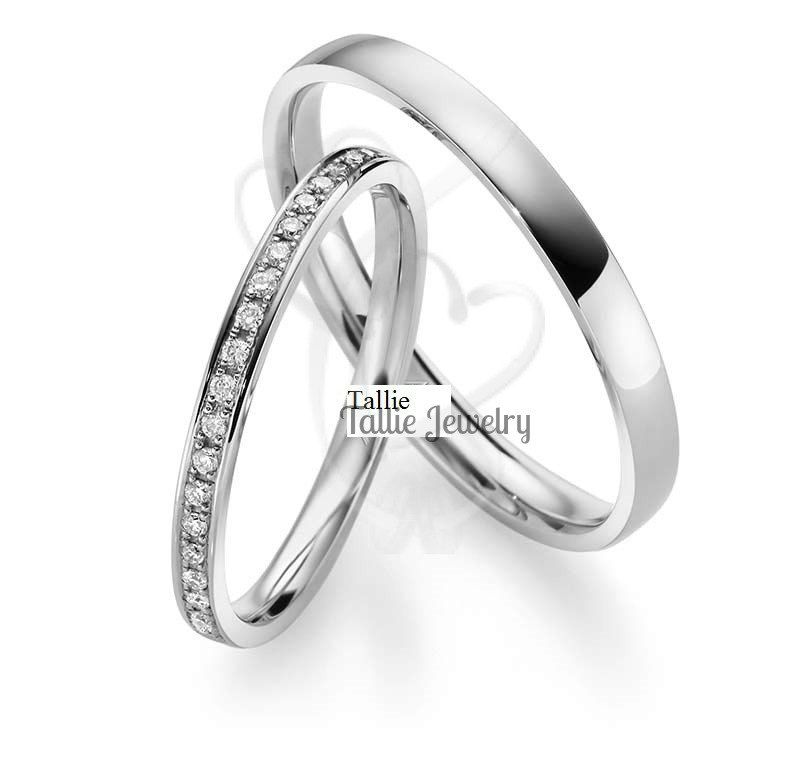 Matching Wedding Bands,His & Hers Wedding Rings Set,10K Gold ...