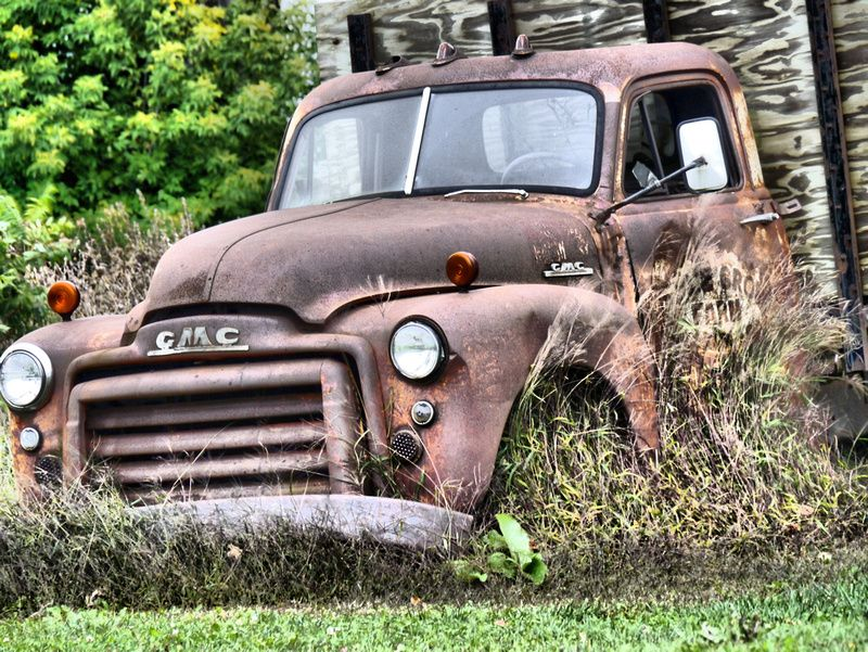 An old rusty truck I found sitting next to the road. Retired from a ...