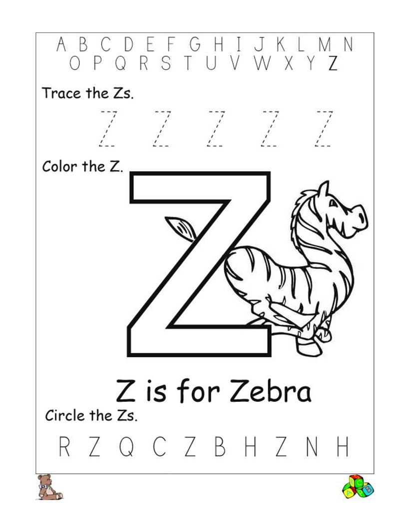 Letter Z Worksheets Preschool letters, Preschool