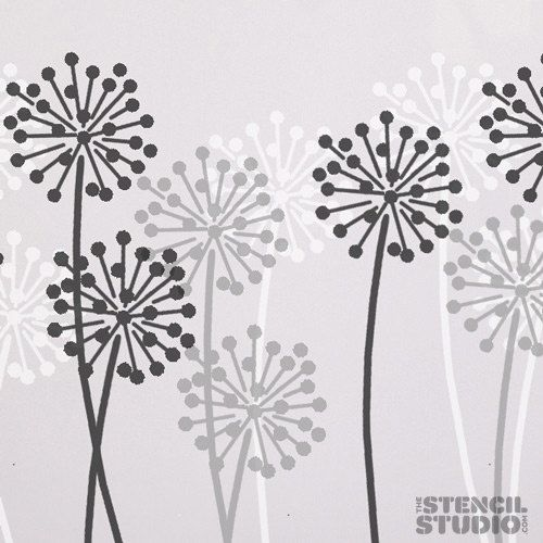 Allium Stencil for wall decor from The Stencil by TheStencilStudio,  Bedroom grey and yellow?.