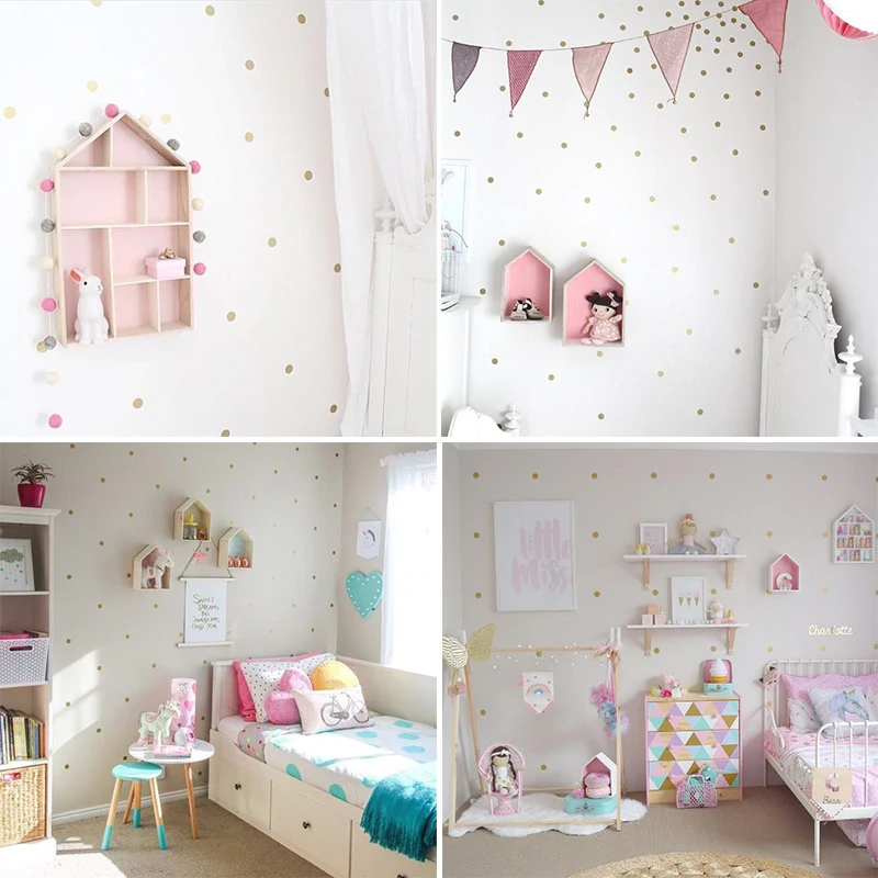 gold polka dots wall stickers for kids room wall decor on wall stickers for kids id=57388