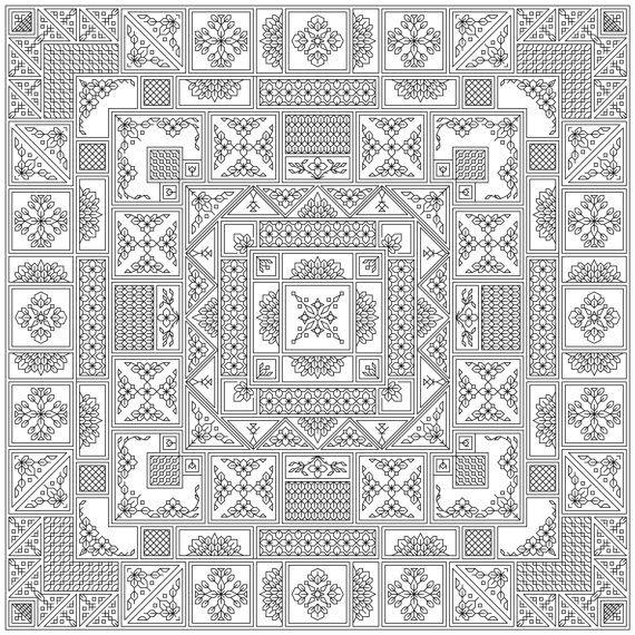 Mahjong Blackwork Design | borduren | Pinterest | Bordado ...