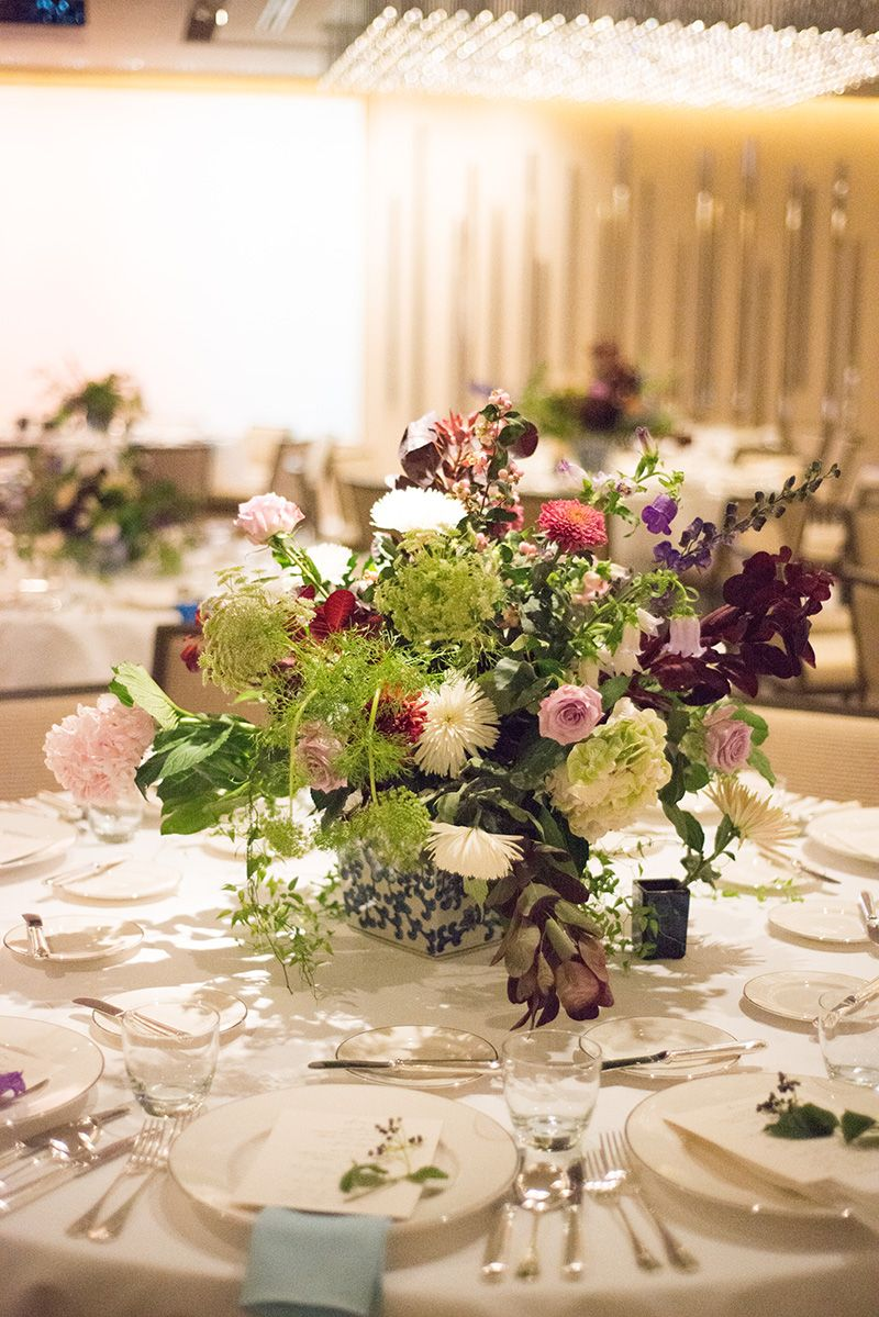 China blue inspired wedding table floral centerpiece
